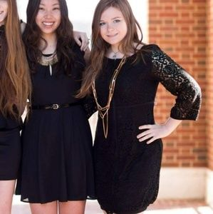 Black Long Sleeve Lacey Dress